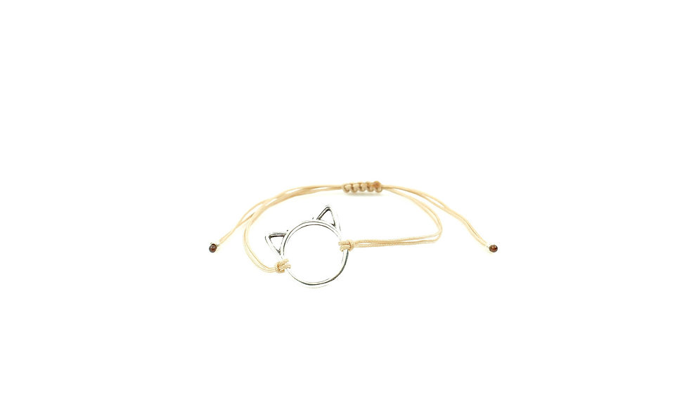Kordel Katze Silber Armband/Fußkette