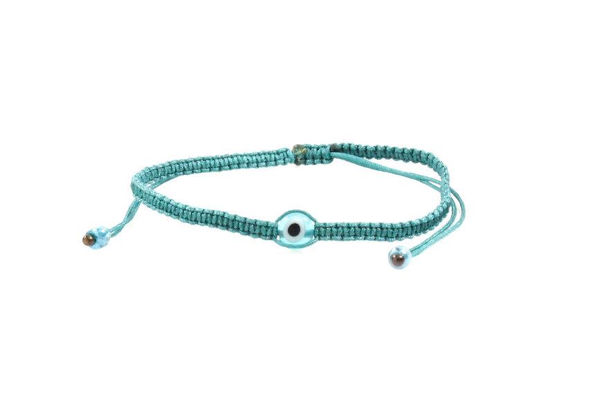 Makramee Evil Eye Petrol Perle Flach Armband/Fußkette