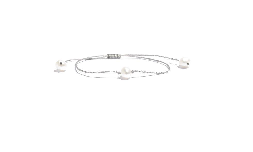 Kordel Eine Perlmutt Süßwasserperle Weiß Groß Armband/Fußkette