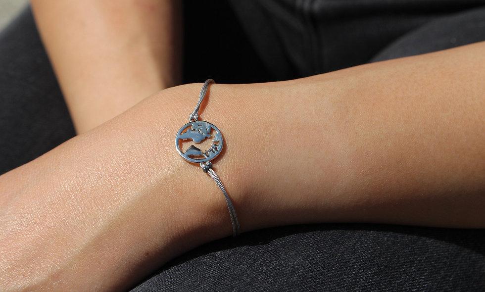Kordel Weltkarte Silber Armband/Fußkette