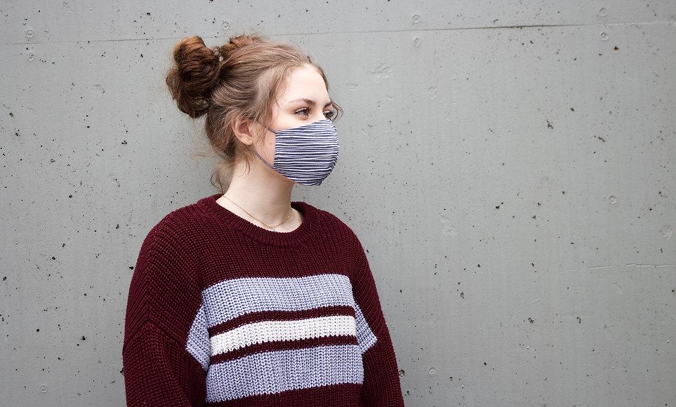 Grau Streifen Baumwolle Maske- hannisch