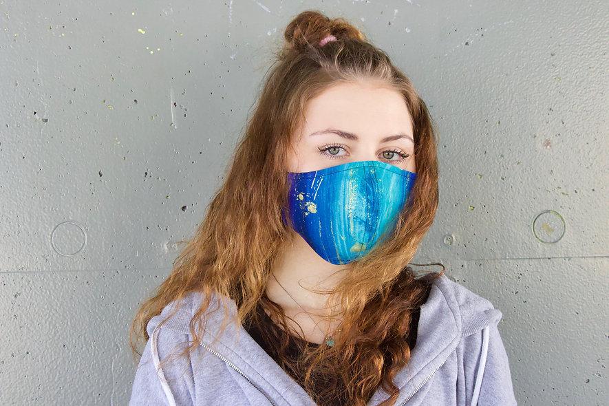 Malerei Türkis Gold Lila Maske- hannisch