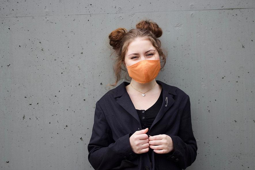 Orange Baumwolle Maske- hannisch