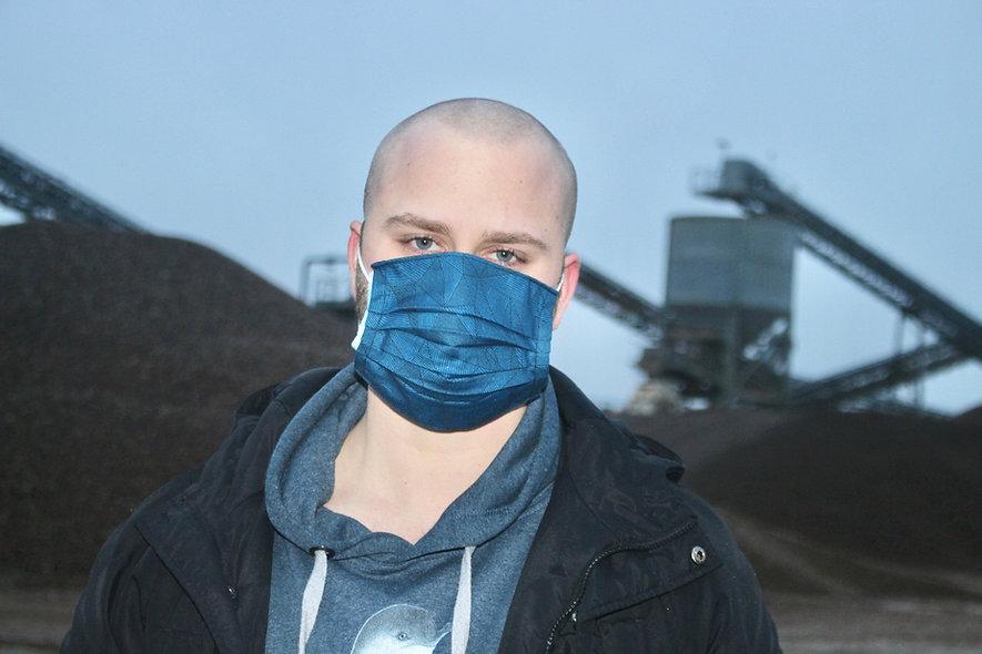Geometrisch Blau Baumwolle OP- Masken Überzieher- hannisch