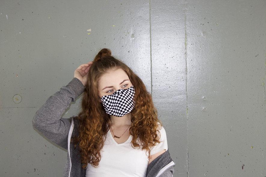 Wavy Karo Baumwolle Flap Maske- hannisch
