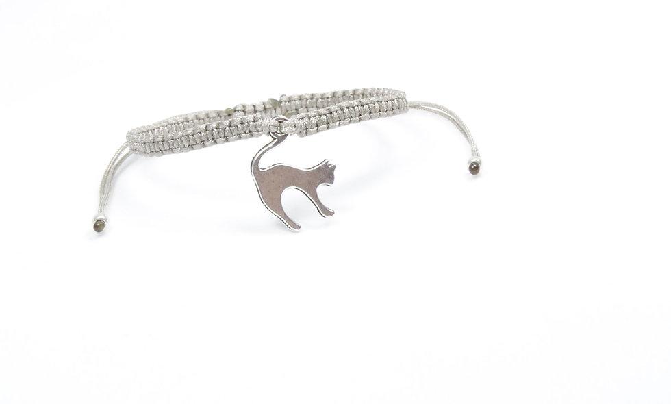 Makramee Katzen Anhänger Silber Armband/Fußkette