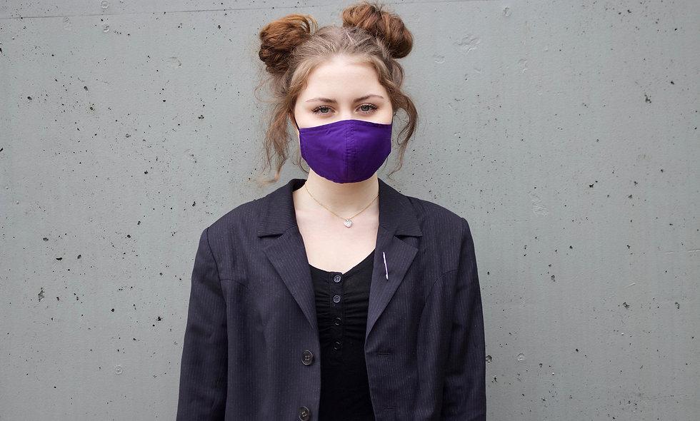 Lila Baumwolle Maske- hannisch