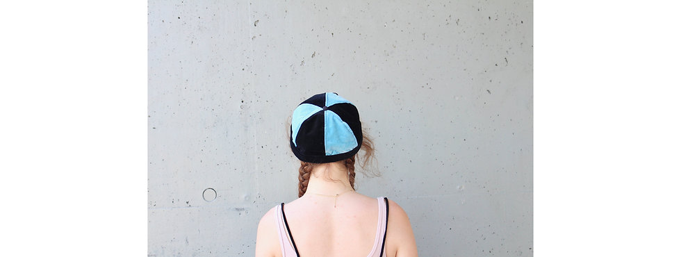 Blau Schwarz Samt Docker Cap mit Tasche- hannisch