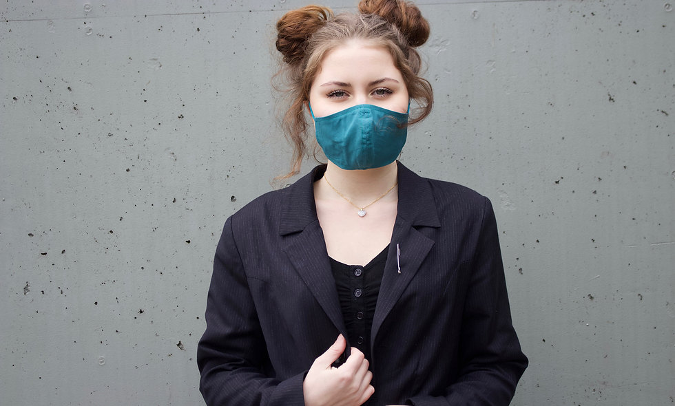 Petrol Baumwolle Maske- hannisch