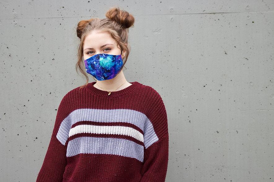 Galaxy Grün Blau Baumwolle Maske- hannisch