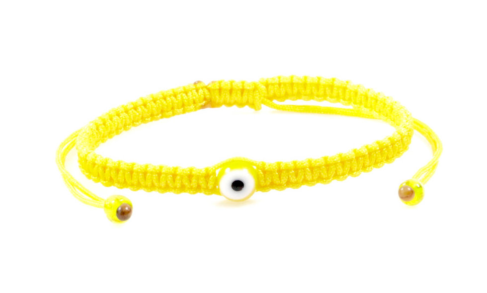 Makramee Evil Eye Gelb Perle Kugel Armband/Fußkette