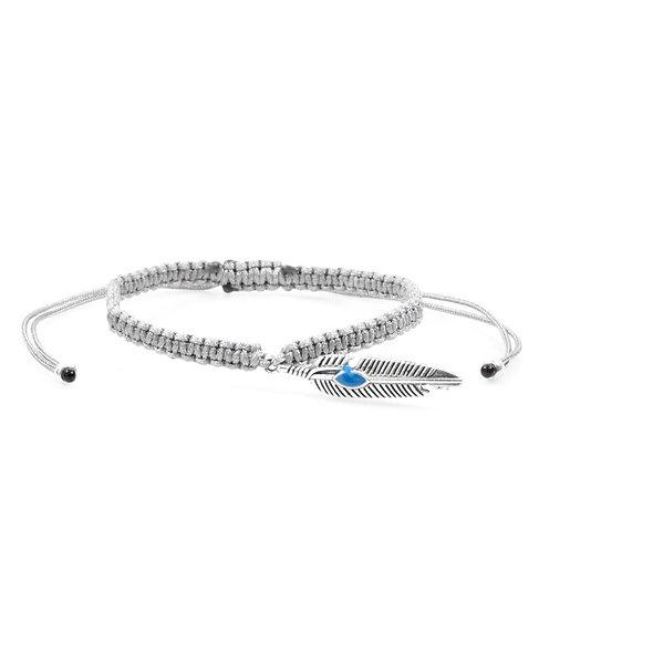 Makramee Boho Feder Silber Armband/Fußkette
