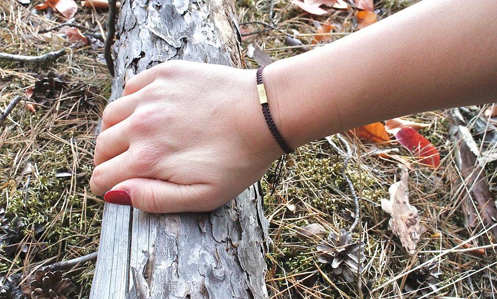Makramee Würfel Messing Armband/Fußkette