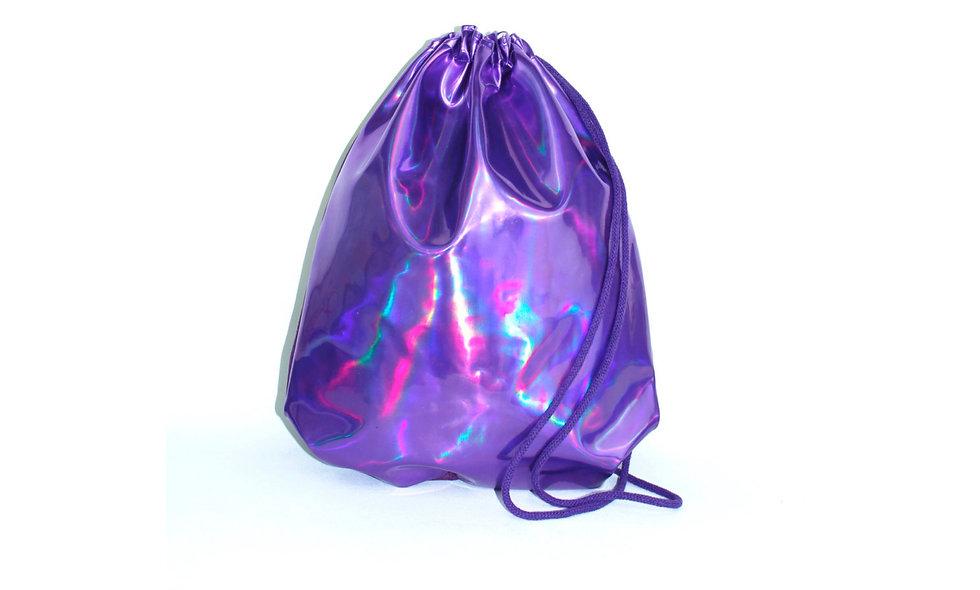 Holographic Laser Leather Lila Gym Bag - hannisch