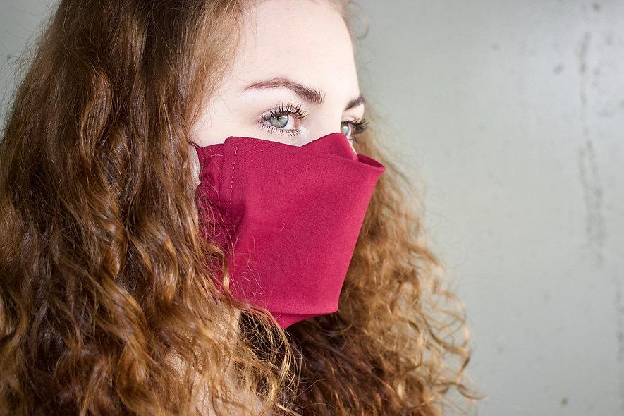 Dunkel Rot Baumwolle Flap Maske- hannisch