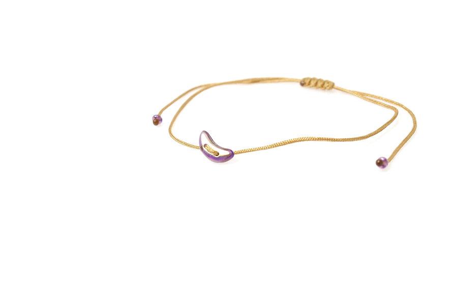 Winziger Mond Violett Gold Kordel Armband/Fußkette