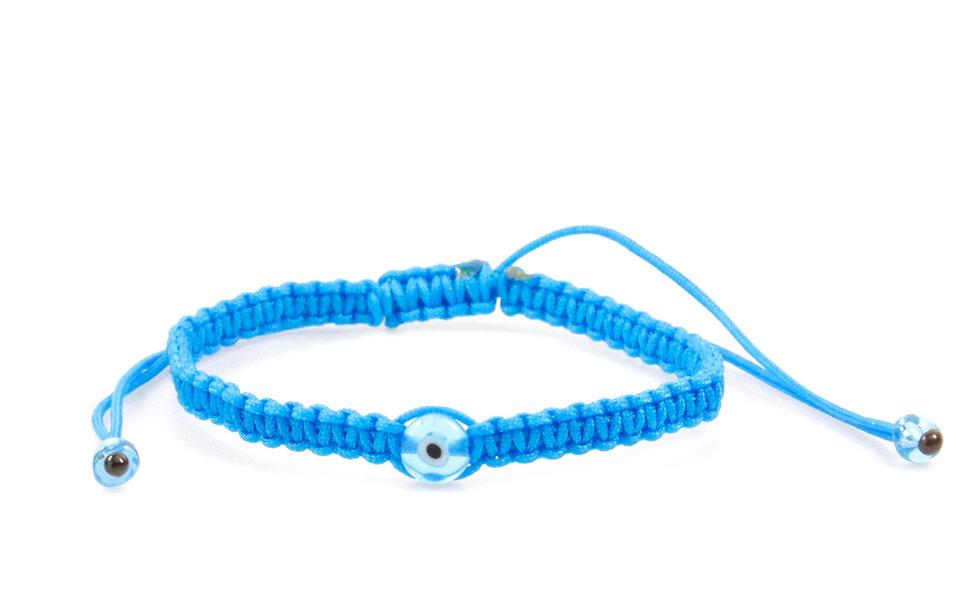 Makramee Evil Eye Türkis Perle Flach Armband/Fußkette