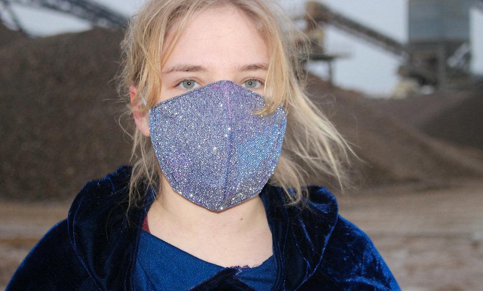 Holo Glitter Lila Blau FFP2 & KN95 Masken Überzieher- hannisch
