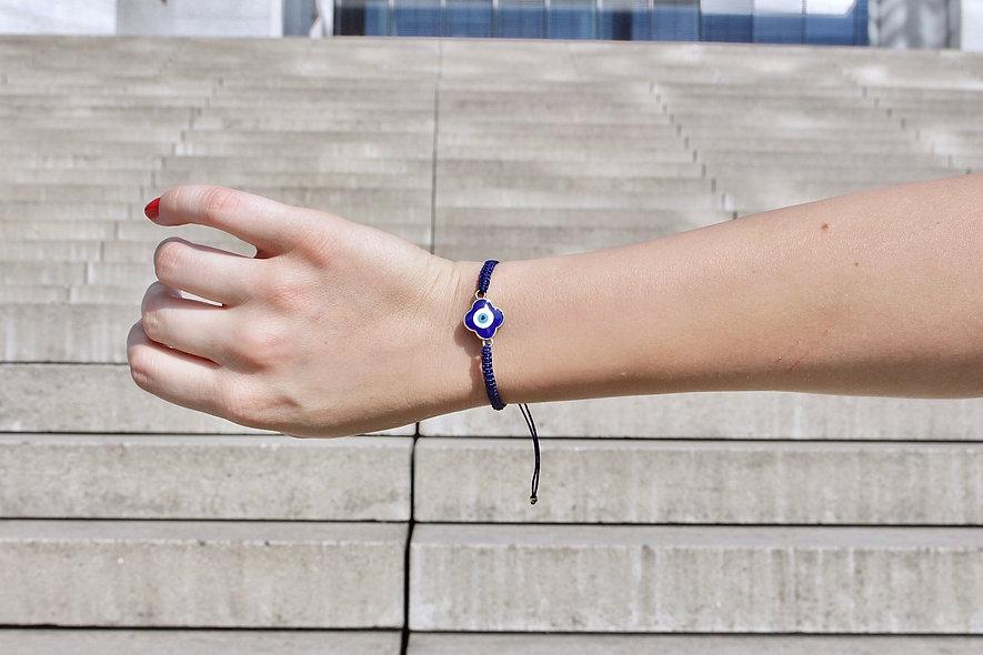 Makramee Evil Eye Kleeblatt Blau Gold Armband/Fußkette