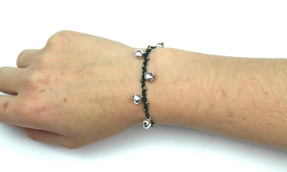 Jingle Bells Silber Makramee  Armband/Fußkette