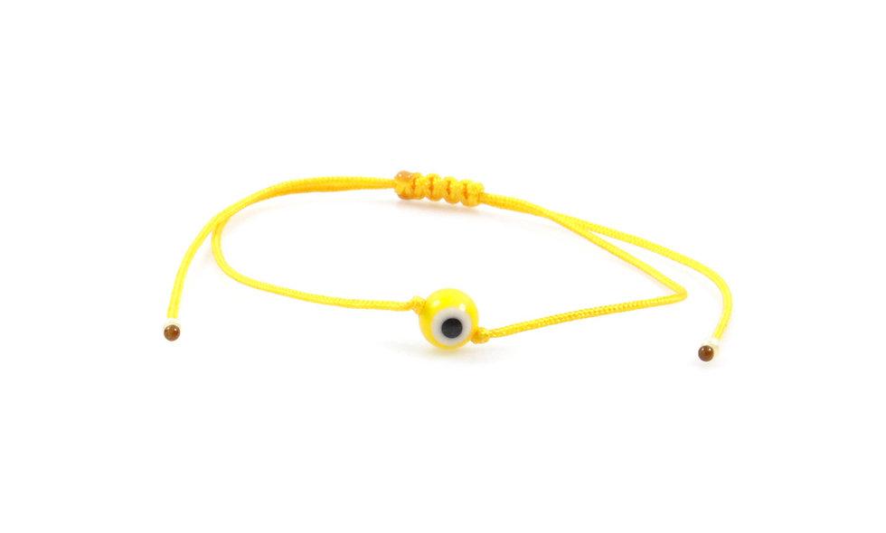 Kordel Evil Eye Gelb Rund Perle Armband/Fußkette