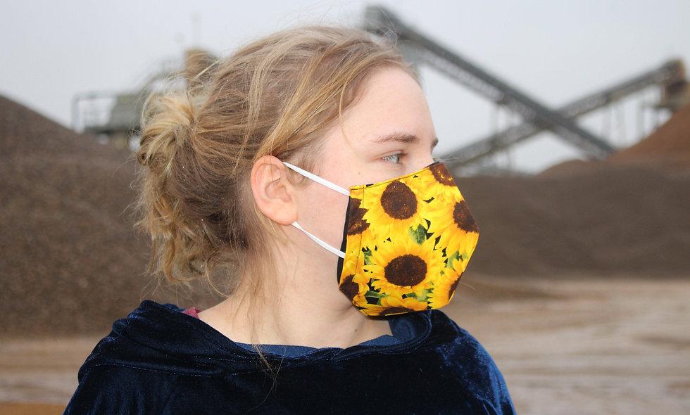 Sonnenblumen Baumwolle FFP2 & KN95 Masken Überzieher- hannisch