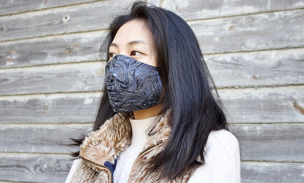 Schwarz Grau Swirl Baumwolle Maske- hannisch