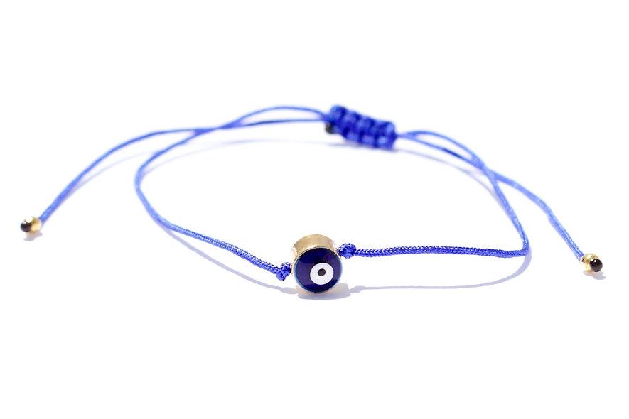 Kordel Evil Eye Blau Gold Perle Armband/Fußkette
