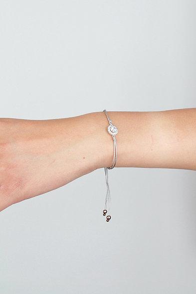 Kordel Silber Zirkonia Armband/Fußkette