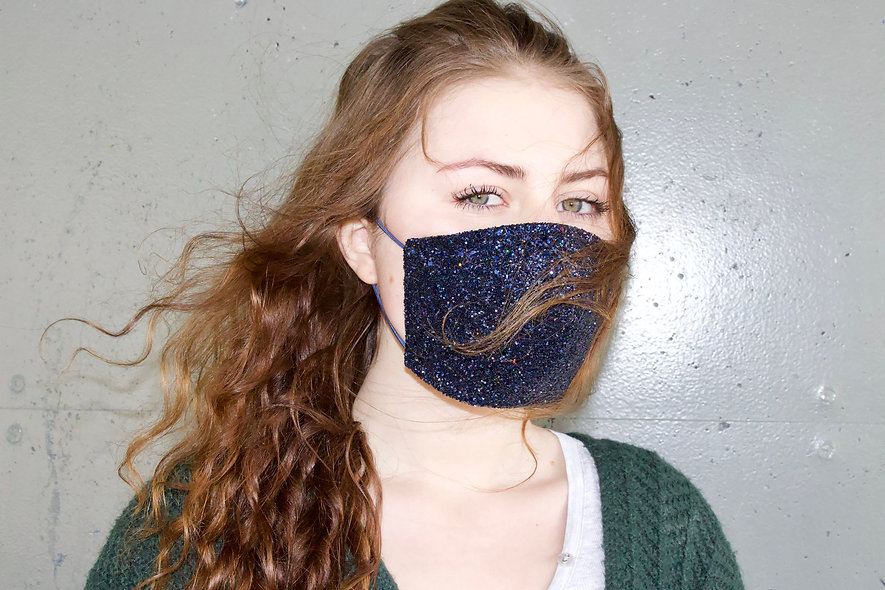 Holographic Dunkel Blau Glitter Maske- hannisch