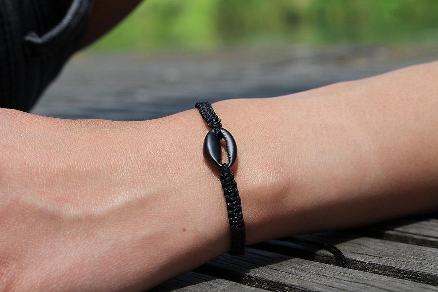 Makramee Muschel Schwarz Armband/Fußkette