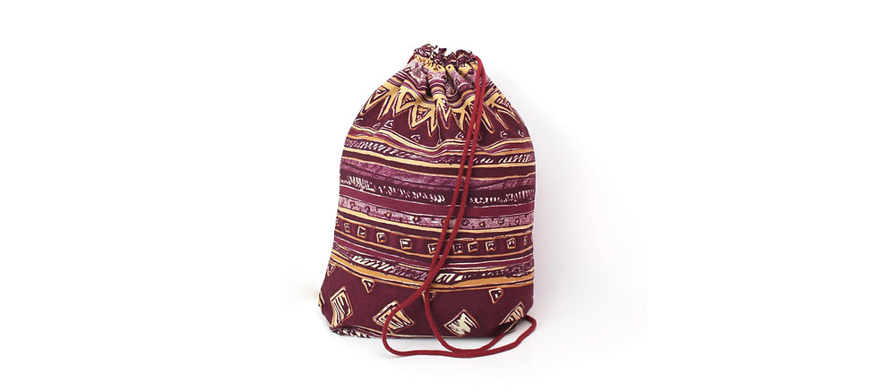 Ethno Aztec Bordeaux Beige Gym Bag - hannisch