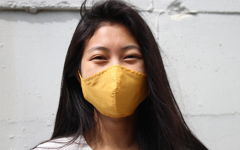 Easy Breathe Mask. Super Dünne Senf Gelb Baumwolle Maske- hannisch