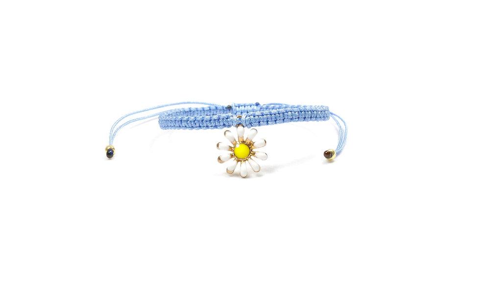 Makramee Gänseblümchen Anhänger Gold Armband/Fußkette