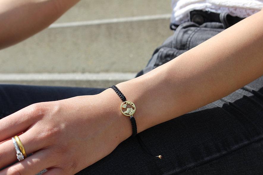 Makramee Weltkarte Gold Armband/Fußkette