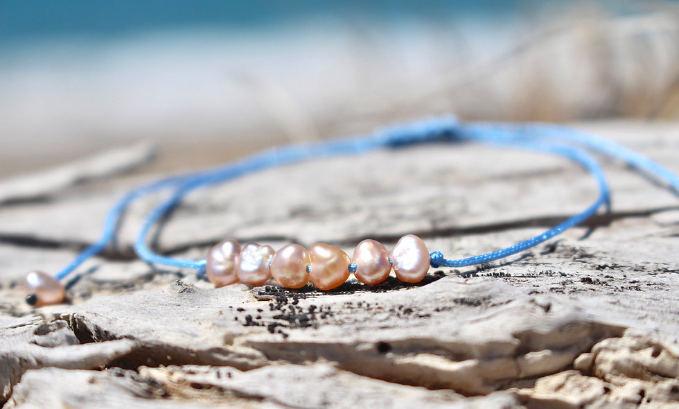 Kordel 6er Perlmutt Süßwasserperle Rosa Klein Armband/Fußkette