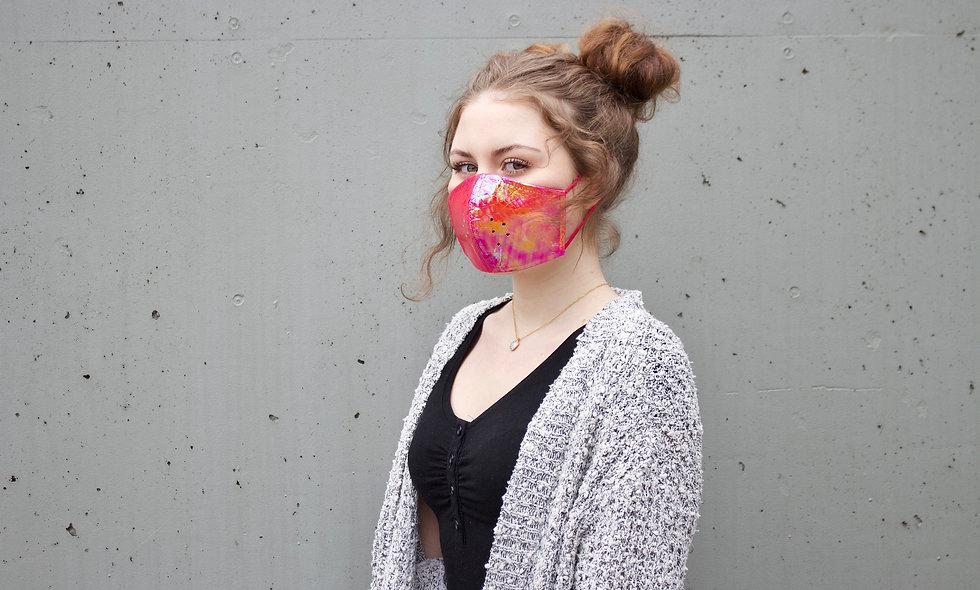 Holographic Croco Pink Maske- hannisch