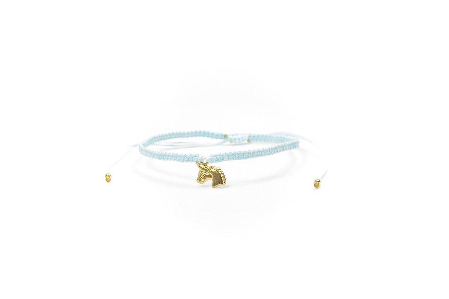 Makramee Einhorn Gold Armband/Fußkette