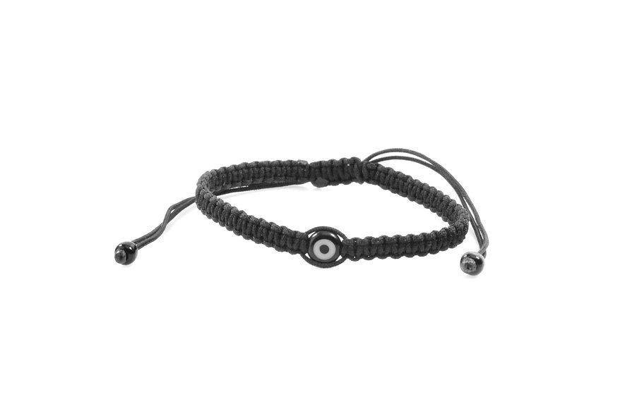 Makramee Evil Eye Schwarz Perle Flach Armband/Fußkette