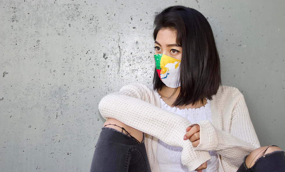 Weltkarte Regenbogen Maske- hannisch