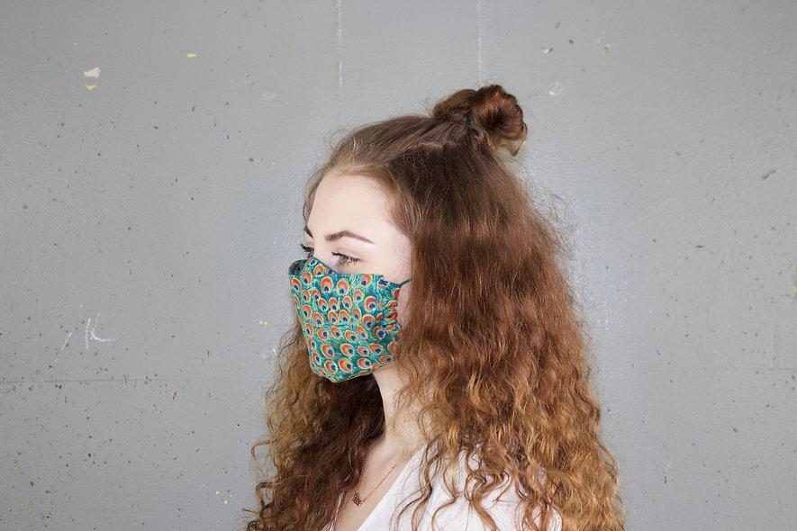 Pfau Baumwolle Flap Maske- hannisch