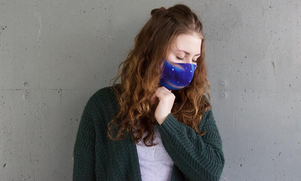 Blau Orange Galaxy Baumwolle Maske- hannisch