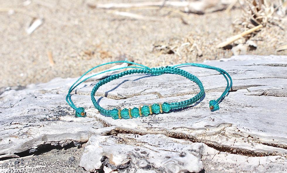 Kordel Kristall Glasperlen Türkis Gold Armband/Fußkette