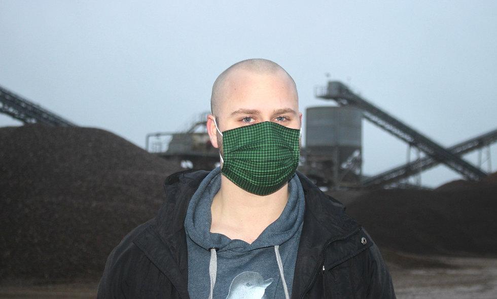 Karo Grün Schwarz Baumwolle OP- Masken Überzieher- hannisch
