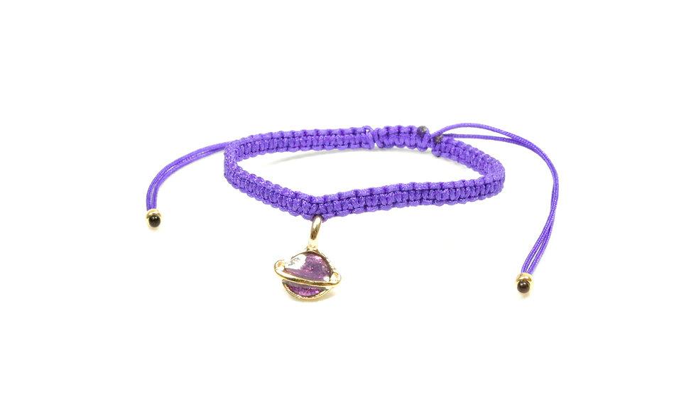 Makramee Lila Glitzer Saturn Armband/Fußkette