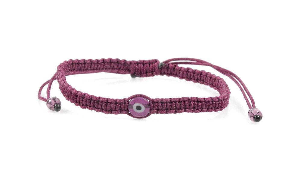 Makramee Evil Eye Bordeaux Perle Flach Armband/Fußkette