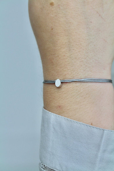 Kordel Oval Silber Armband/Fußkette