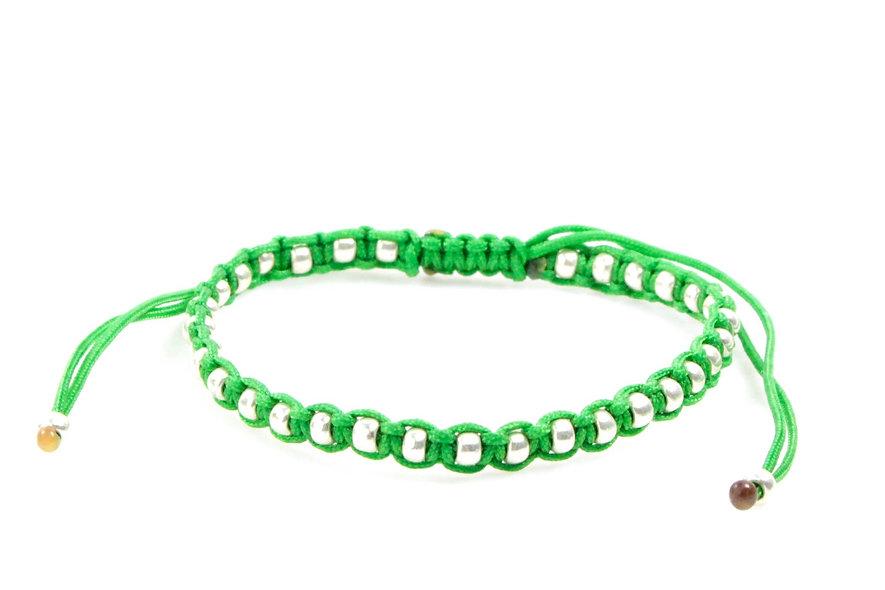 Makramee Eingefasste Silber Perlen Armband/Fußkette