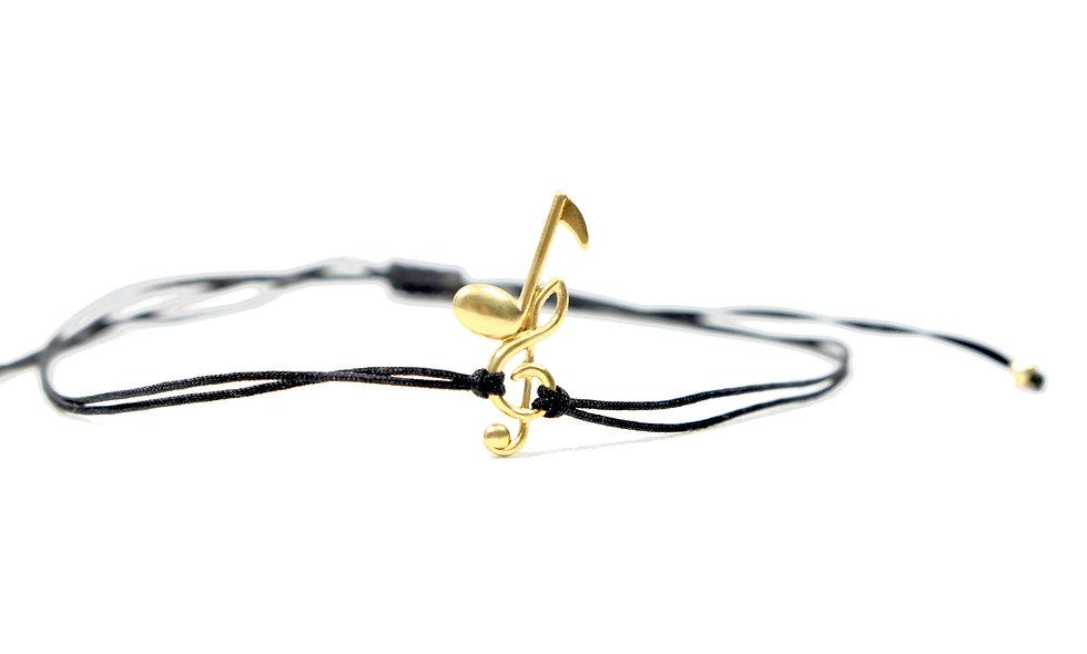 Kordel Musik Note Notenschlüssel Gold Armband/Fußkette