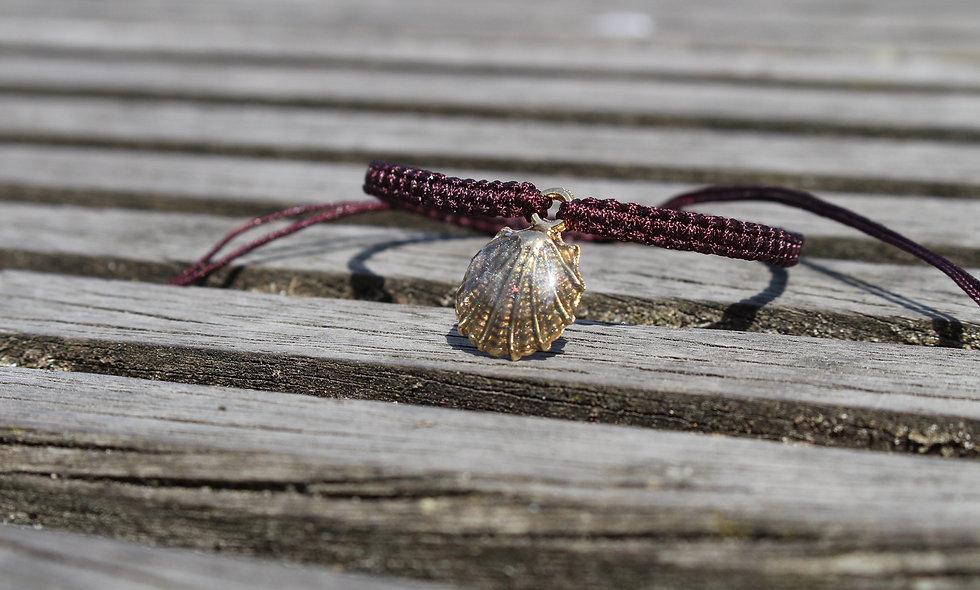 Makramee Muschel Braun Gold Glitter Armband/Fußkette